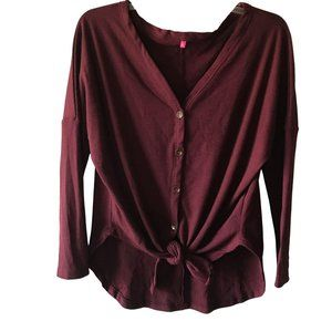 Long Sleeve Button Front Waffle Fabric Tie Front